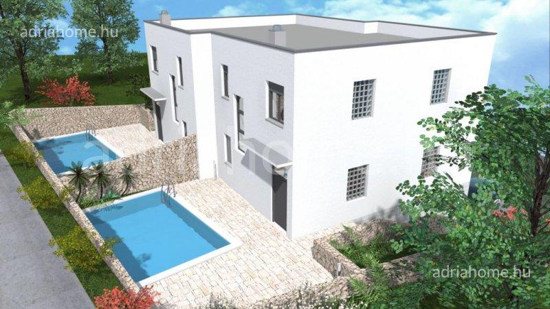 Crikvenica – Modern kétlakásos családi ház két medencével