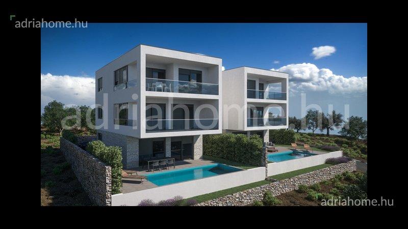 Sibeniki riviéra – Újépítésű, tengerre néző, duplex villák medencével
