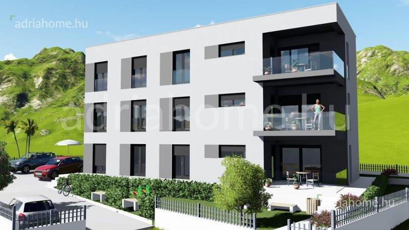 Rogoznica – Három újépítésű, háromszobás apartman medencével